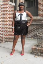 black faith21 skirt - silver Loft top - red Steve Madden shoes
