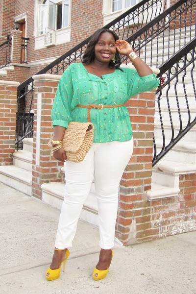 chartreuse oversized Kmart LYS blouse - white skinny Faith21 Plus jeans