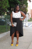 black hi-low Forever21 skirt - white polka dot tank Loft blouse