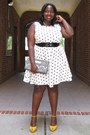 White-polka-dots-evans-dress-yellow-suede-peeptoes-aldos-shoes