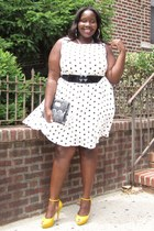 white polka dots Evans dress - yellow suede peeptoes Aldos shoes