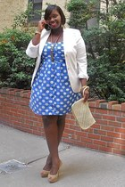 blue polka dots Faith21 Plus dress - white polkadots Faith21 Plus dress