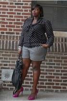 white faith21 blouse - black faith21 blouse - heather gray faith21 shorts