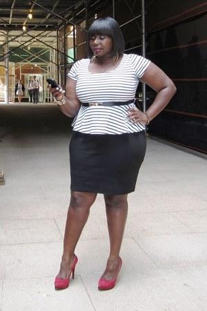 fashion to figure skirt - striped fashion to figure top - platform Guess heels