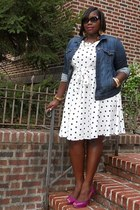 navy Old Navy jacket - black polka dots Evans dress