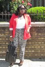 Black-printed-kmart-pants-red-forever21-blazer-white-old-navy-shirt