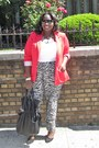 Red-forever21-blazer-white-old-navy-shirt-black-printed-kmart-pants