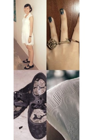 dress - bag - flats - ring - bracelet - ring