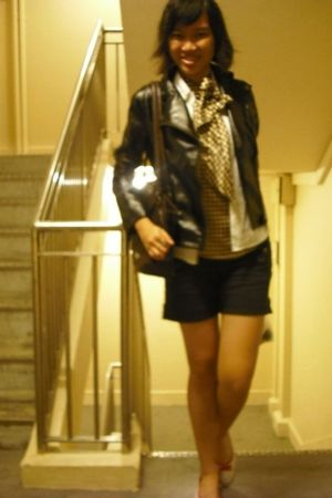 black jacket - black shorts - brown Mphosis top - white vintage vest