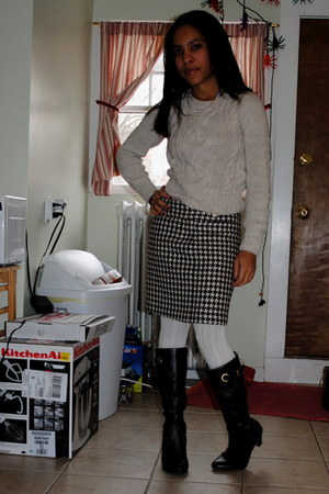 dark brown Target boots - off white cable knit H&M sweater - ivory Target tights