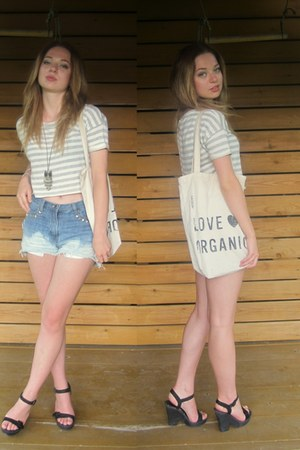 striped Pimkie t-shirt - organic eko H&M bag - diy DIY shorts