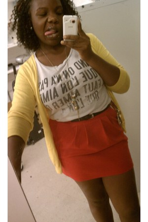 silver Forever 21 shirt - red Forever 21 skirt - yellow Uniqlo cardigan