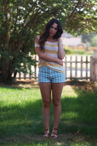 yellow Charlotte Russe shirt - aquamarine Forever 21 shorts - bronze DSW sandals