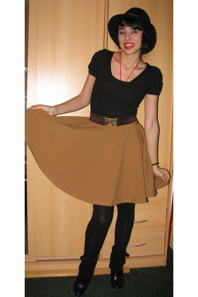 diy skirt - leather boots - thrift hat - bow belt belt