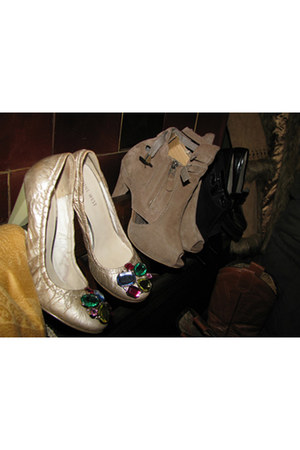 eggshell with gems heels - tan suede heels