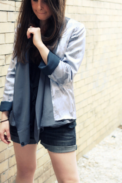 blue Zara shorts - blue guy french blazer - black Urban Outfitters shirt