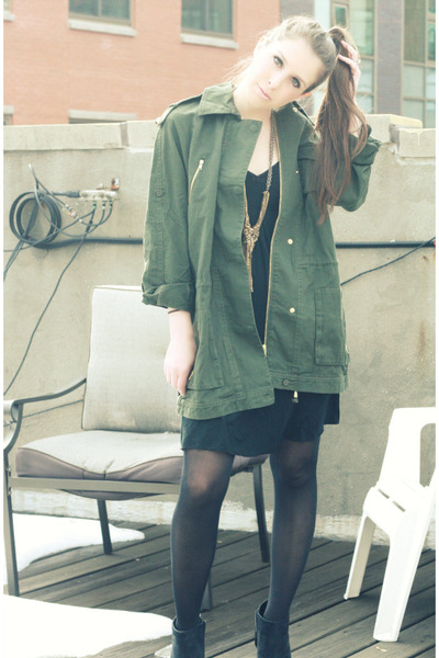 black Charlotte Russe boots - black Gap dress - dark green Aqua jacket - gold Da