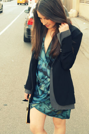 black guy french blazer - blue Black Halo dress - black J Crew purse