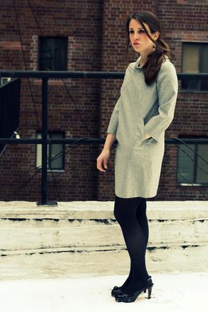 black vintage earrings - black Christian Louboutin shoes - silver Theory dress