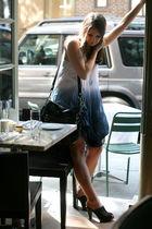 blue Sisley dress - brown Sisley shoes - black coach purse - blue coach necklace