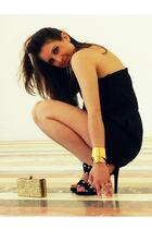black Black Halo dress - gold J Crew purse - gold alexis bittar bracelet - black