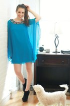 black Charlotte Russe boots - aquamarine Tibi dress