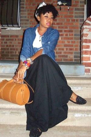 black skirt - blue slouchy shirt - black flats