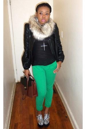 green fitted pants - black blazer - dark brown scarf - tawny bag - black wedges