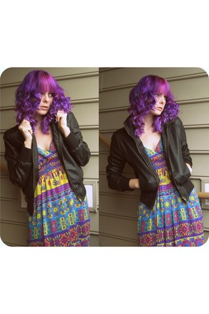 pleather Forever 21 jacket - geometric maxi Forever 21 dress