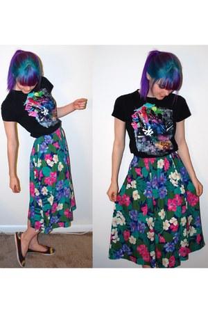 turquoise blue floral skirt Goodwill skirt - black Forever 21 top