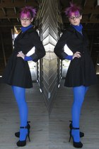 blue turtleneck Mossimo sweater - black trench Maria D jacket
