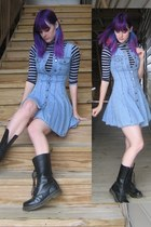 sky blue jeans dress Goodwill dress - black 16hole boots Dr Martens boots
