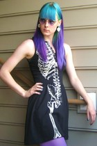 black skeleton dress Hot Topic dress - purple purple tights Forever 21 tights