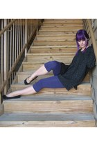 black leopard print Goodwill sweater - deep purple TJ Maxx tights