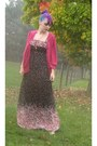 Black-floral-maxi-forever-21-dress-hot-pink-sequin-cardigan-old-navy-cardigan