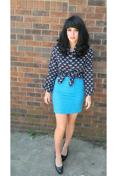 black vintage blouse - aquamarine tiered vintage skirt