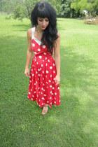 red polka dot Jenni dress - camel studded Target heels