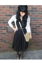 black vintage dress - gold crocodile vintage purse