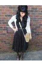 black vintage dress - gold crocodile vintage purse