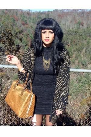skeleton legs tights - black vintage dress - black vintage sweater