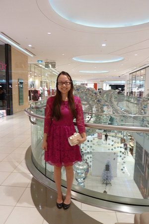 cerise lace warehouse dress - Forever New bag - patent Charles and Keith heels