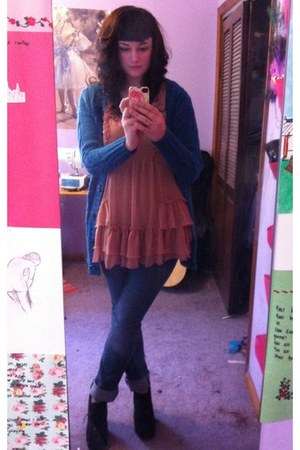 Topshop dress - Bamboo wedges - JCPenney cardigan
