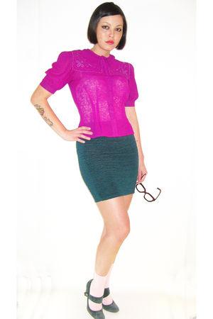 pink Robyns Nest blouse - green vintage skirt - black Forever 21 glasses
