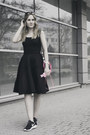 Black-oodji-dress-black-h-m-bag-hot-pink-pull-bear-accessories