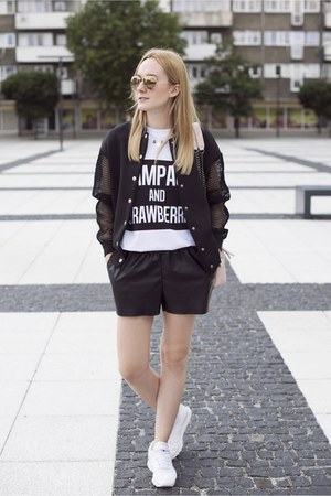 black Front Row Shop jacket - light pink Zara bag - black H&M shorts