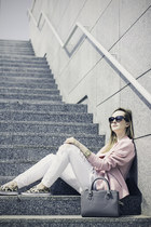 white GINA TRICOT jeans - light pink oodji jacket - heather gray Zara bag