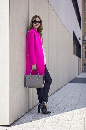hot pink Mosquito jacket - heather gray Zara bag - black Prada sunglasses