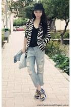 zebra print Zara blazer - boyfriend jeans Zara jeans - Stradivarius hat