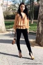 Bimba&Lola bag - velvet Mango pants - Bimba&Lola pumps - Sfera blouse