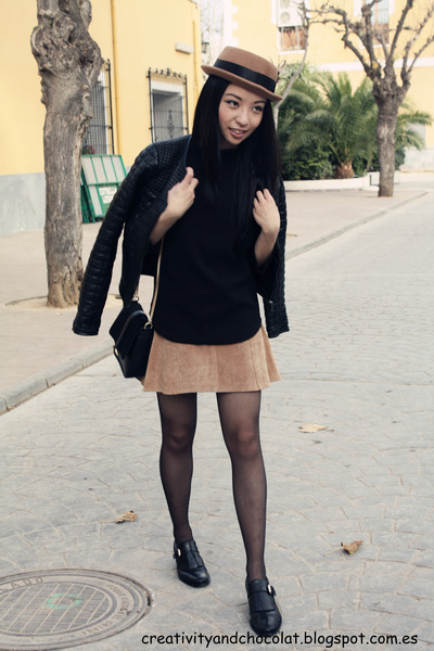 Bimba&Lola hat - Zara jacket - Zara bag - suede leather H&M skirt